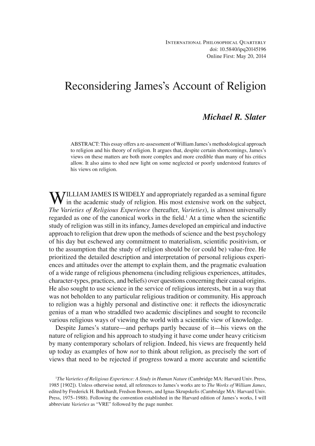 reconsidering james s account of religion michael r slater document is being loaded