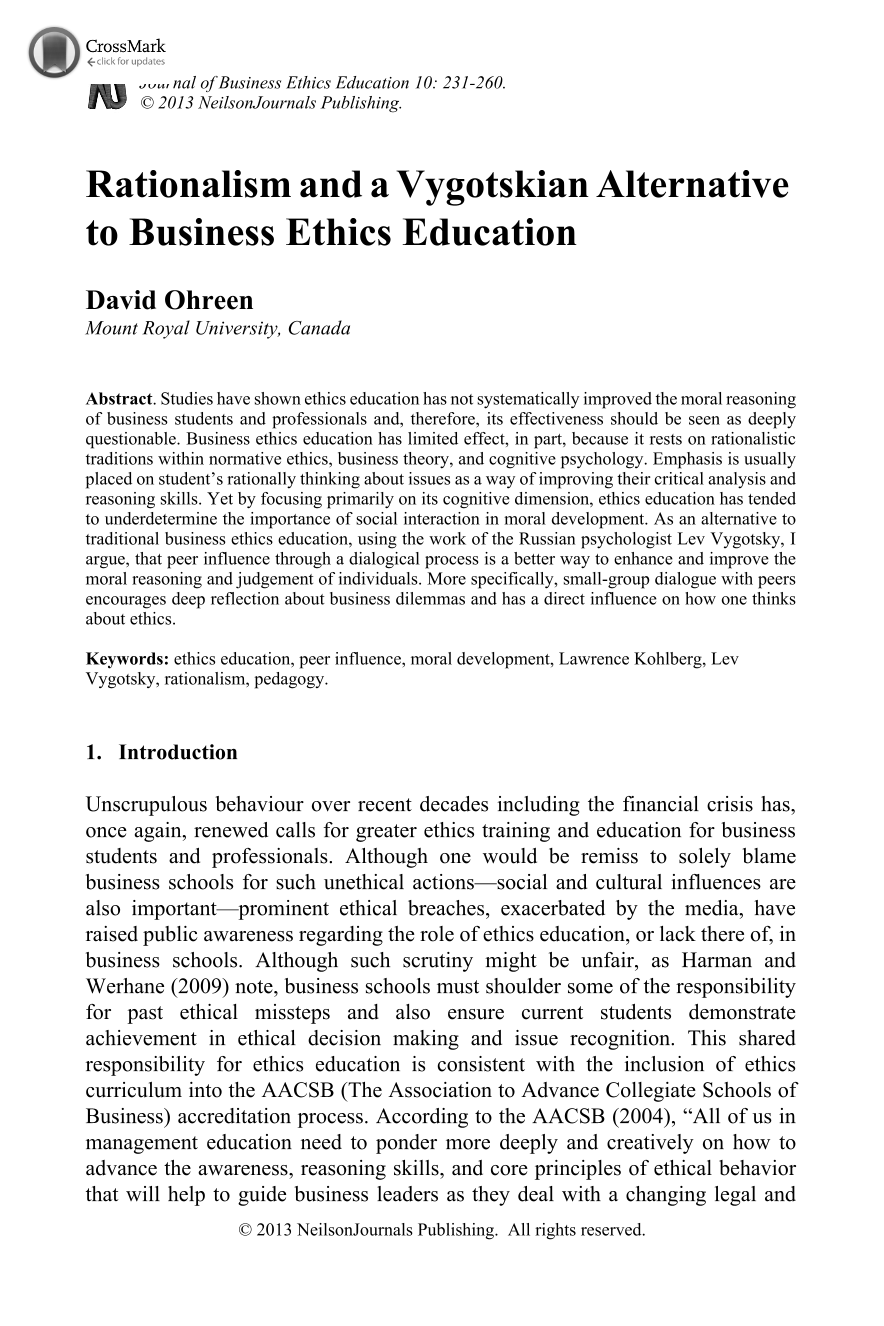Journal of Business Ethics Education