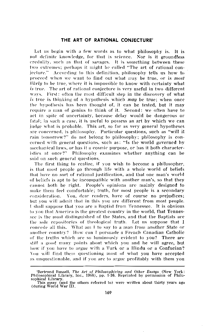 the art of rational conjecture bertrand russell the journal of document is being loaded