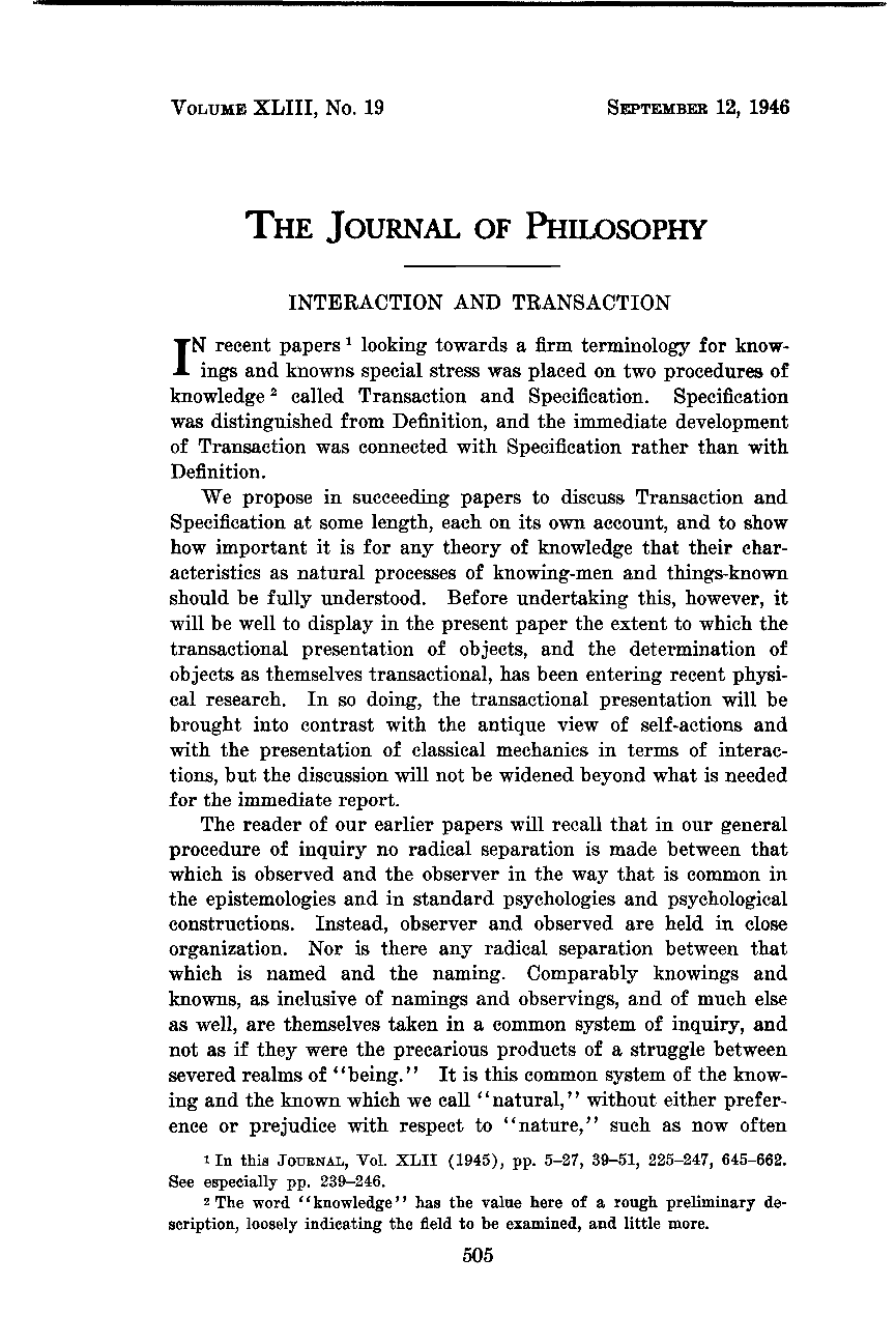 Interaction and Transaction - John Dewey, Arthur F  Bentley