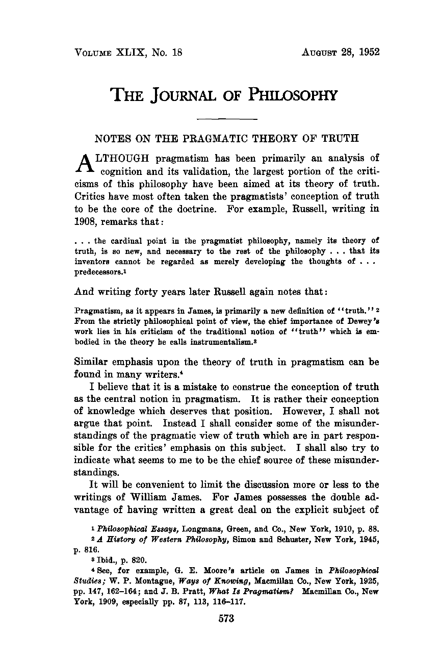 notes on the pragmatic theory of truth moreland perkins the document is being loaded