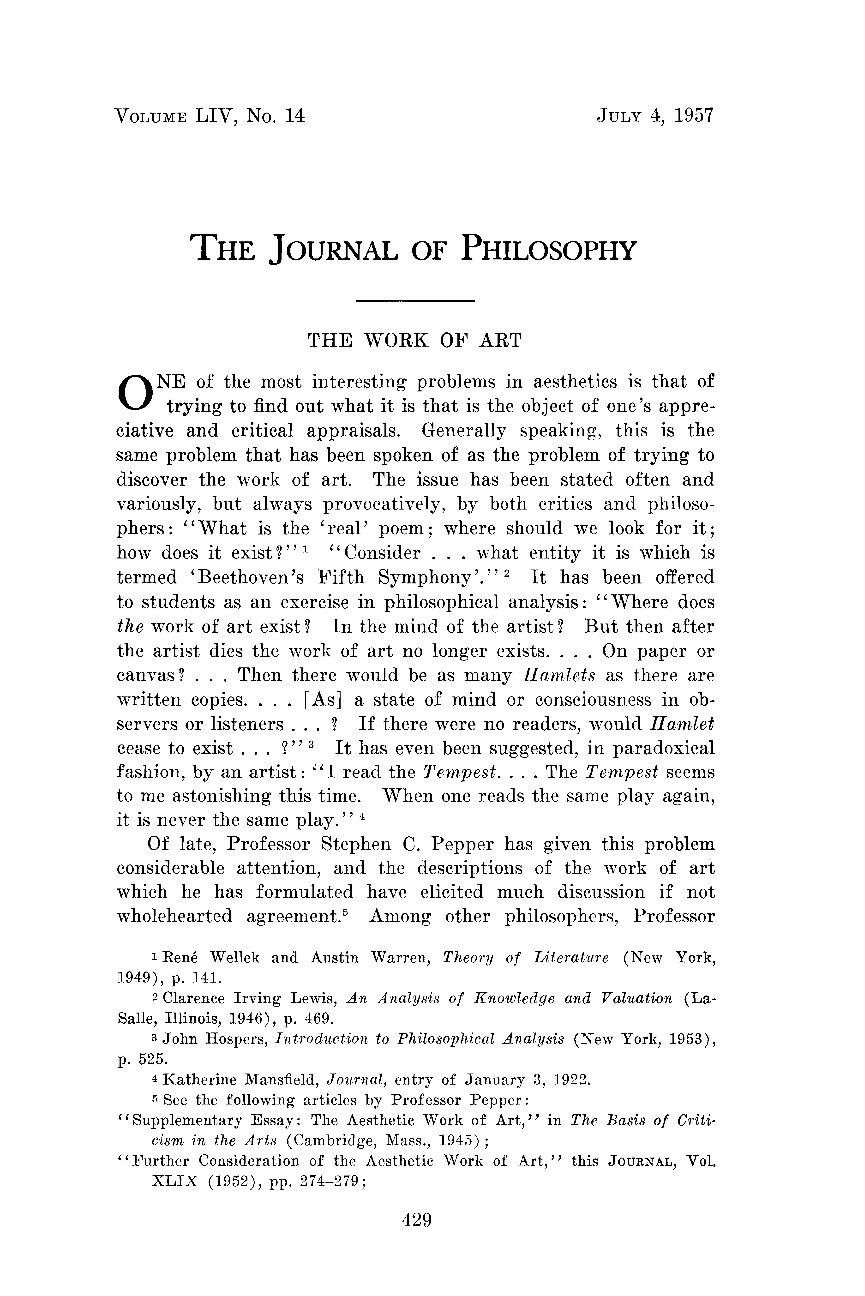 the work of art donald f henze the journal of philosophy document is being loaded
