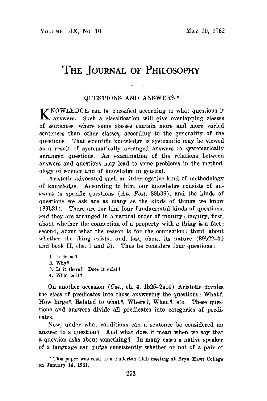 Questions and Answers - Henry Hiz - The Journal of