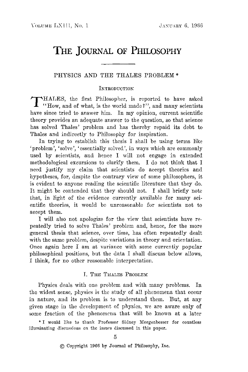 physics and the thales problem gerald feinberg the journal of document is being loaded
