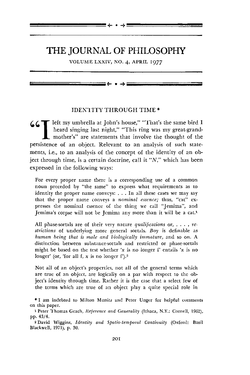 Identity Through Time - Marjorie S  Price - The Journal of