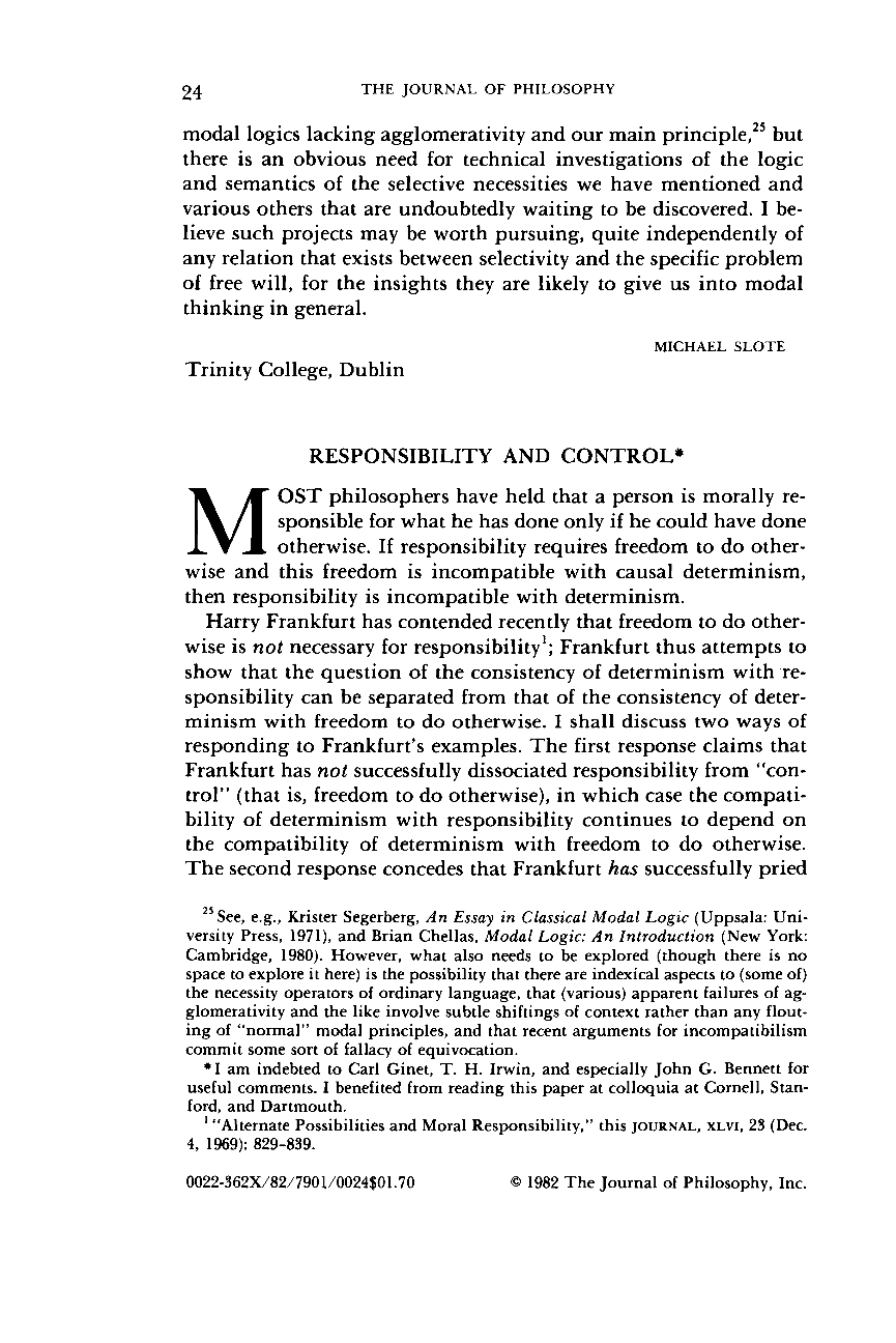 essays responsibility and control john martin fischer the journal of - Observational Essay Examples