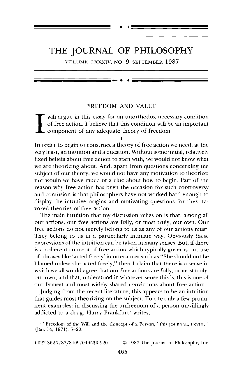 Freedom and Value - Paul Benson - The Journal of Philosophy