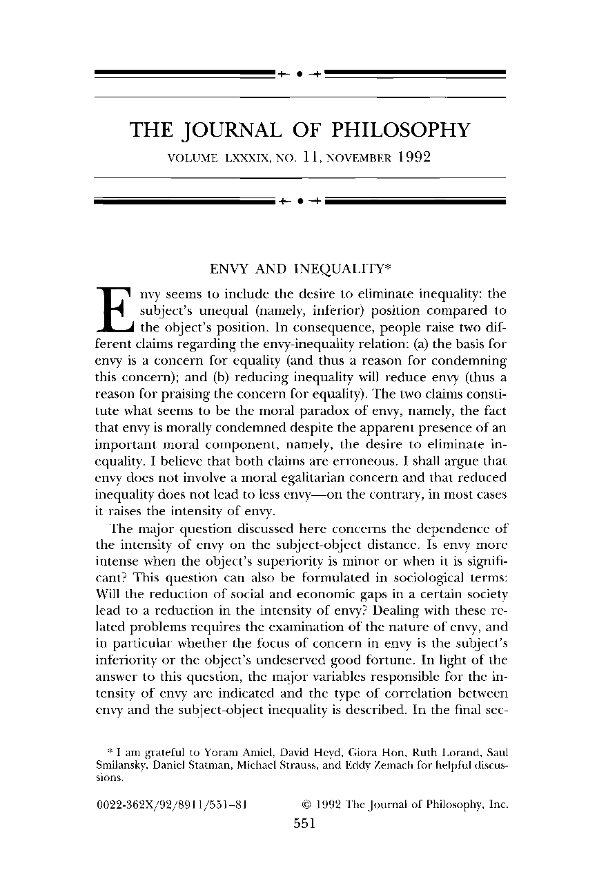 envy and inequality aaron ben ze ev the journal of philosophy  document is being loaded
