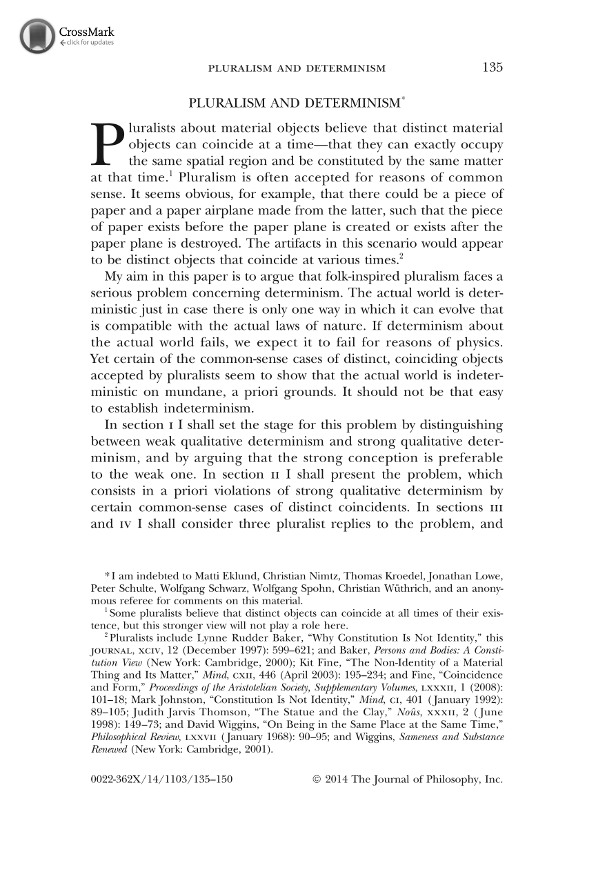 Pluralism and Determinism - Thomas Sattig - The Journal of