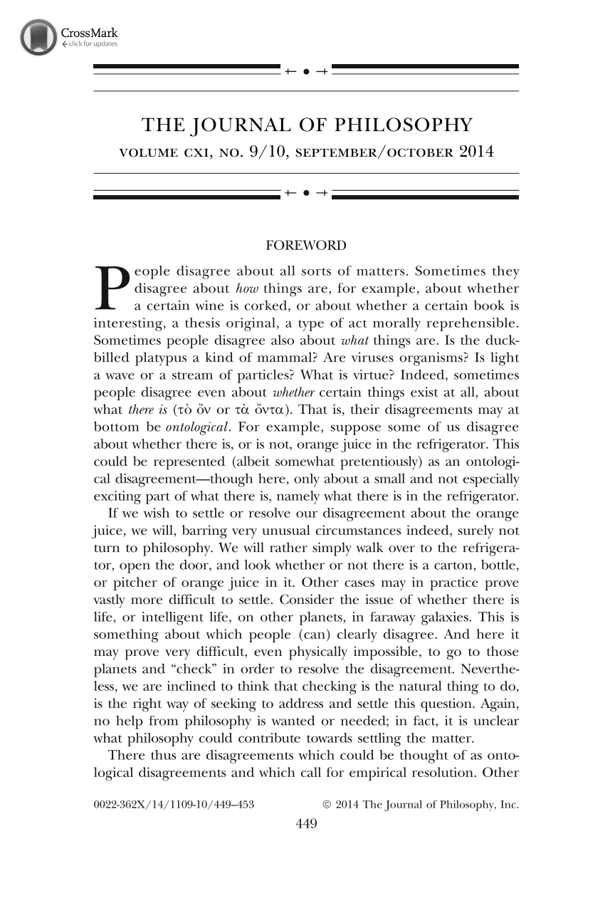 Foreword - Wolfgang Mann, Achille C. Varzi - The Journal of ... 55db2341be2