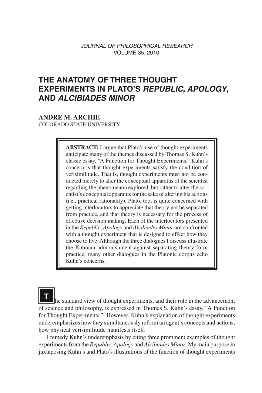 The Anatomy of Three Thought Experiments in Plato\'s Republic ...