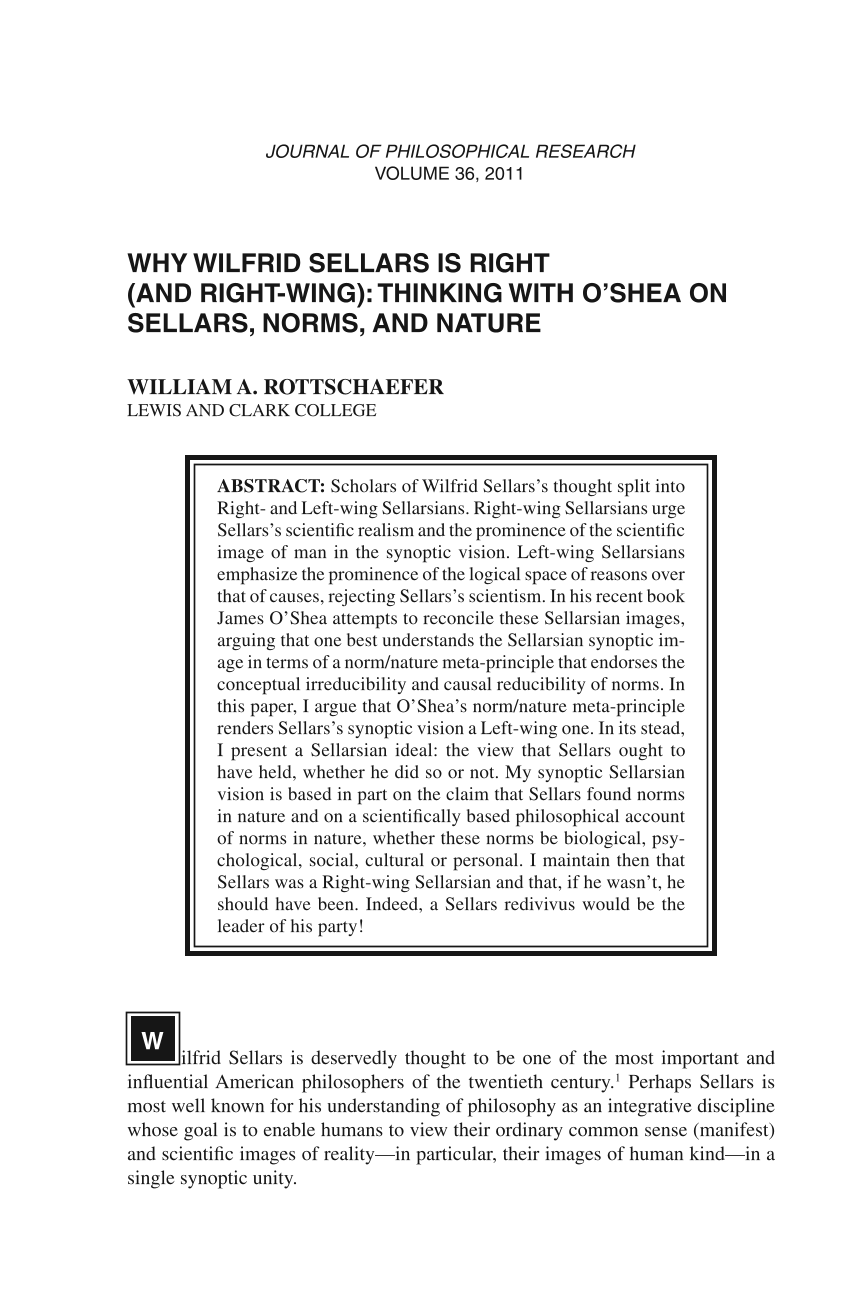 Why Wilfrid Sellars Is Right (and Right-Wing): Thinking With O'Shea