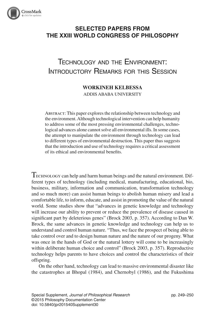 Technology and the Environment: Introductory Remarks for
