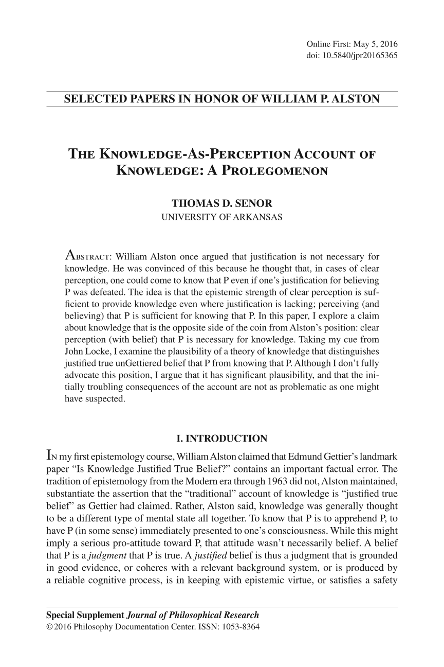 the knowledge as perception account of knowledge a prolegomenon document is being loaded