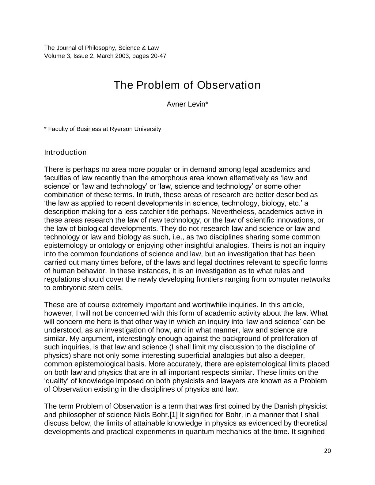 The Problem of Observation - Avner Levin - The Journal of Philosophy