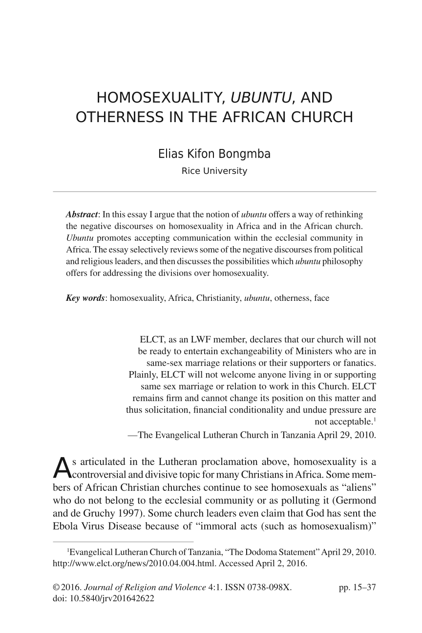homosexuality ubuntu and otherness in the african church elias document is being loaded