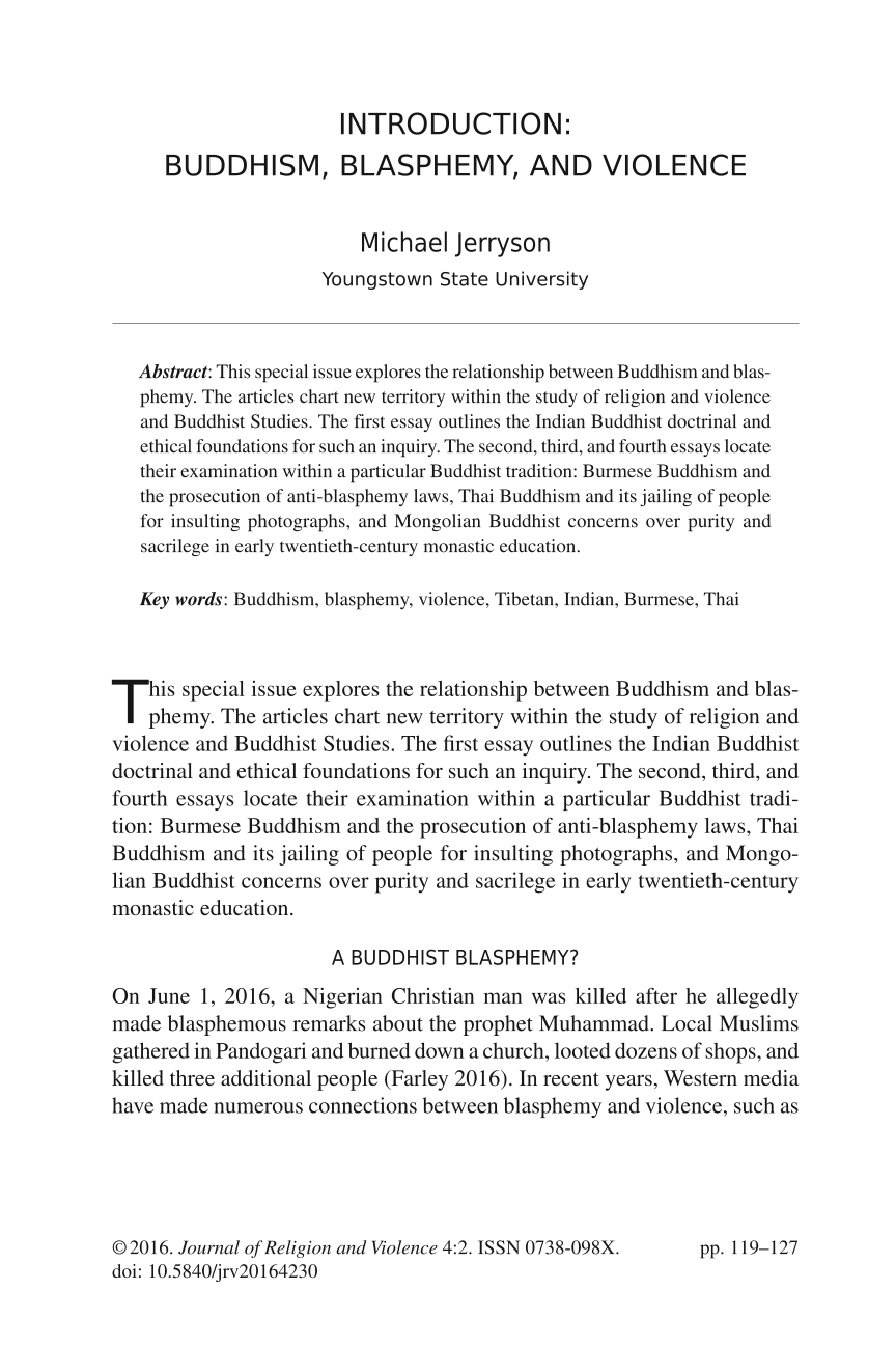 introduction buddhism blasphemy and violence michael jerryson document is being loaded