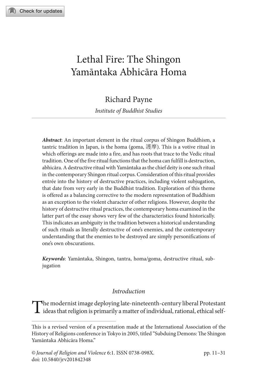 Lethal Fire: The Shingon Yamāntaka Abhicāra Homa - Richard