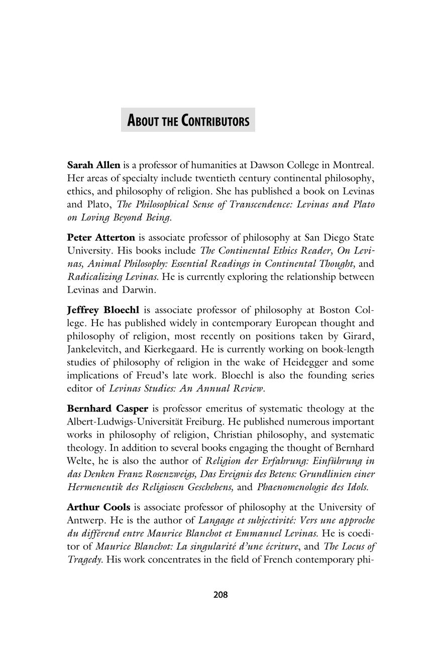 About the Contributors - - Levinas Studies (Philosophy