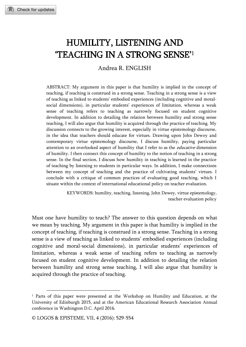 humility listening and teaching in a strong sense andrea r document is being loaded