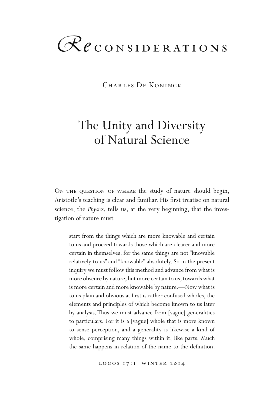 The Unity and Diversity - Charles De Koninck - Logos: A