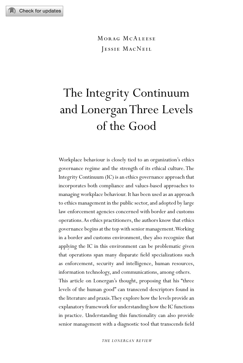 the integrity continuum and lonergan three levels of the good  document is being loaded