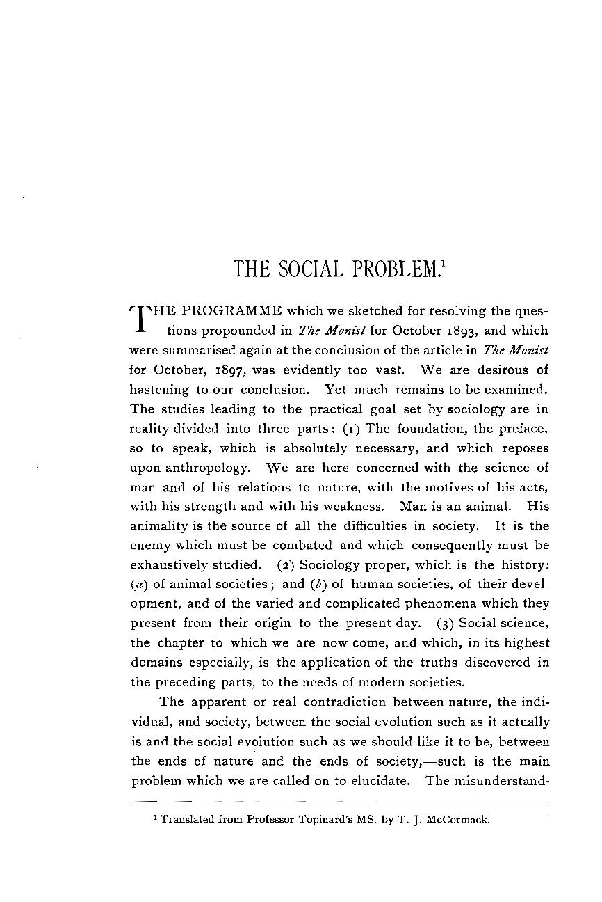 The Social Problem - P  Topinard - The Monist (Philosophy