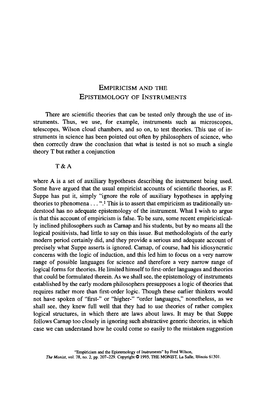 Empiricism And The Epistemology Of Instruments Fred Wilson The