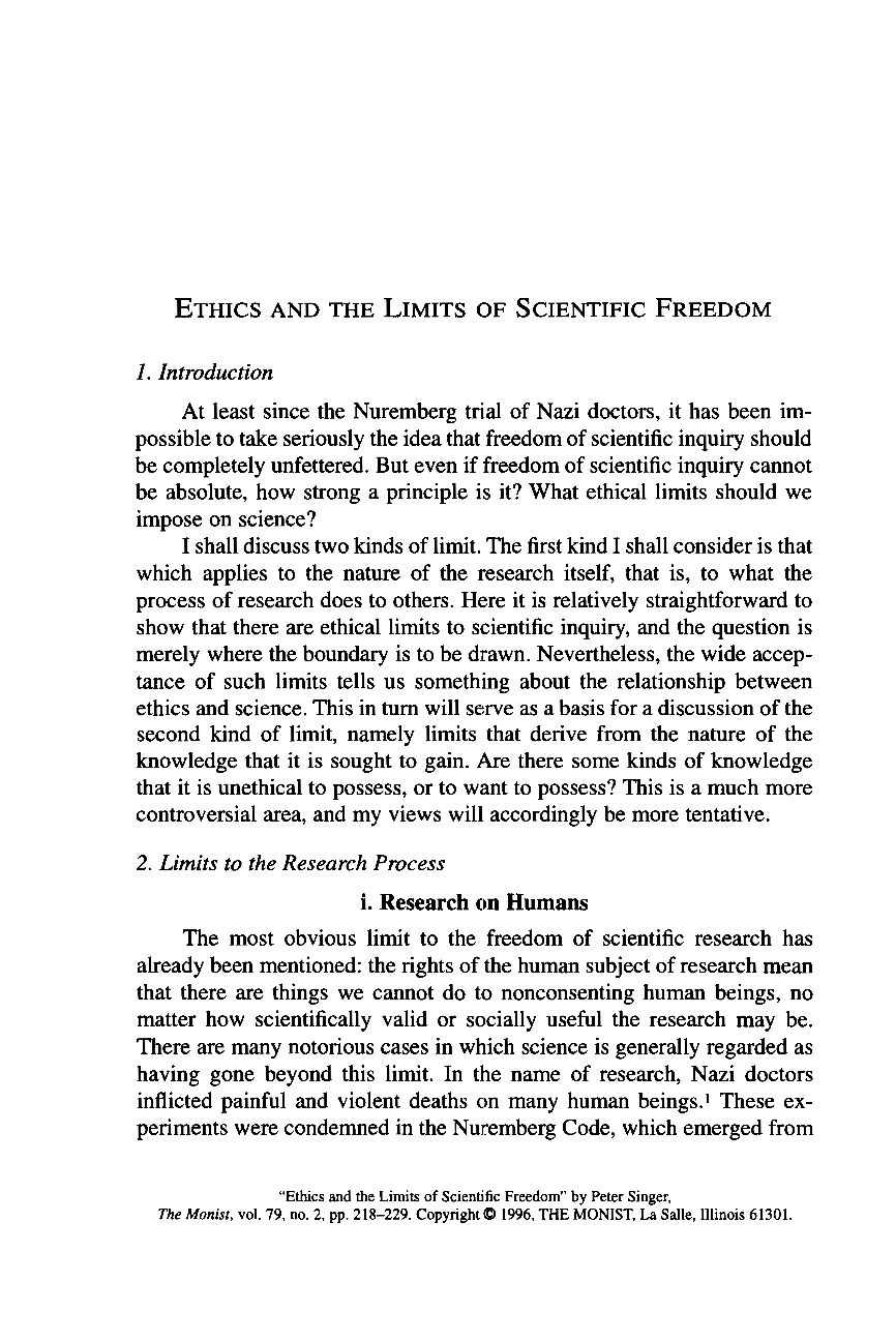 Ethics and the Limits of Scientific Freedom - Peter Singer