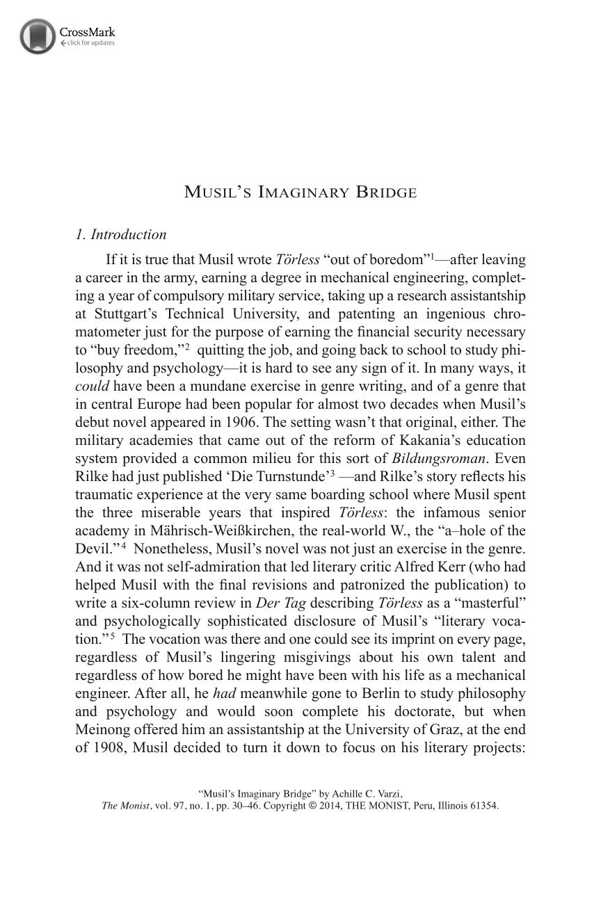Musil s Imaginary Bridge - Achille C. Varzi - The Monist (Philosophy ... 935042f376c