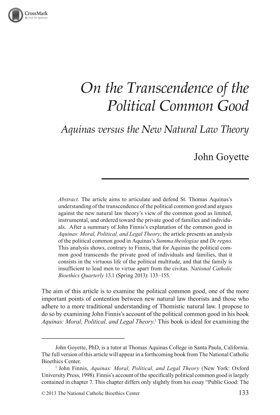 on the transcendence of the political common good aquinas versus document is being loaded