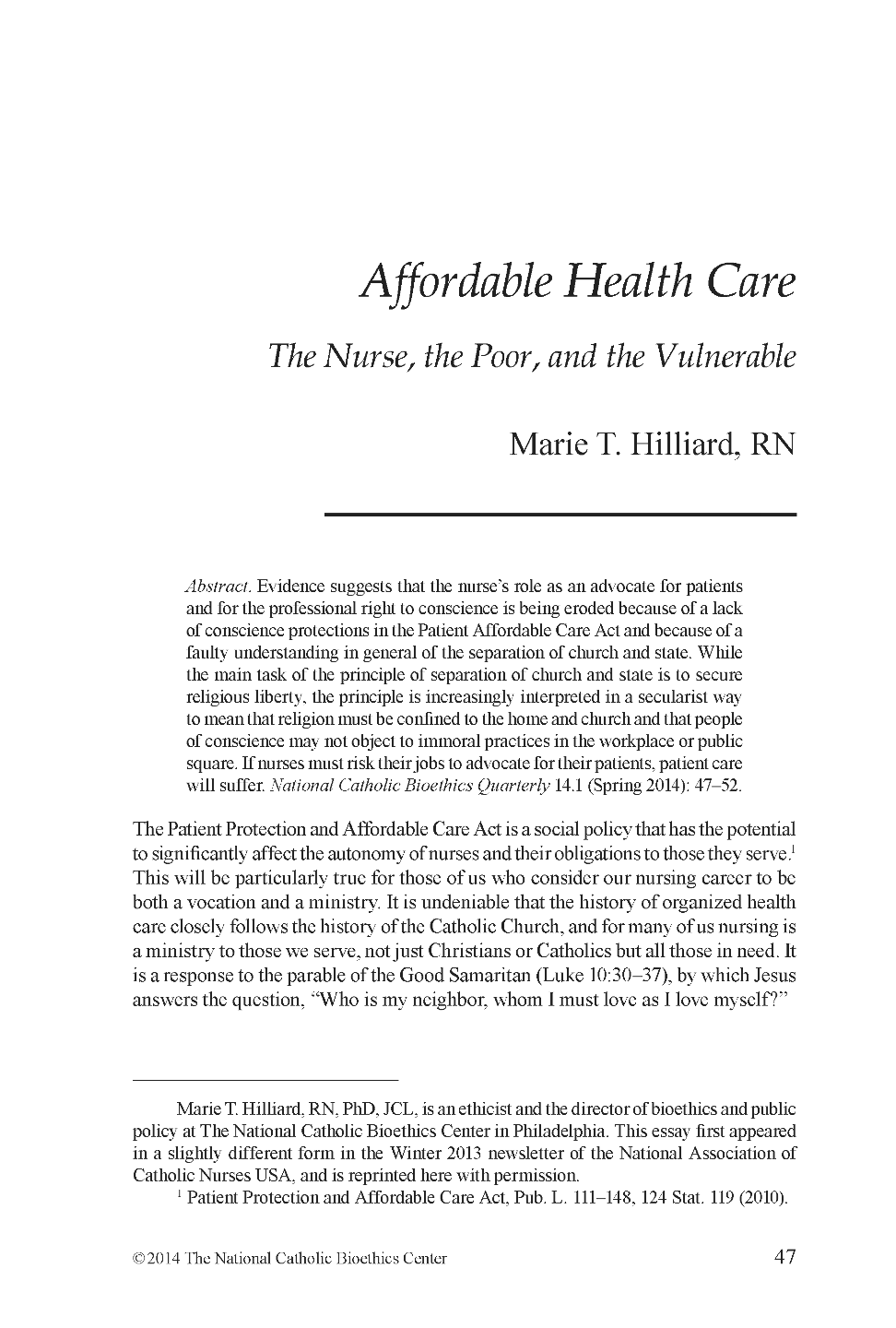 affordable health care the nurse the poor and the vulnerable document is being loaded