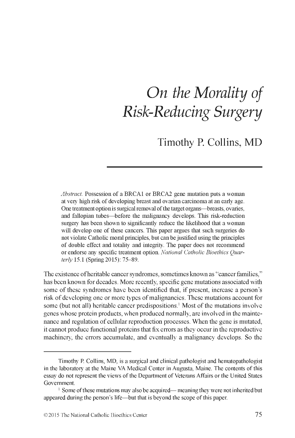on the morality of risk reducing surgery timothy p collins md document is being loaded