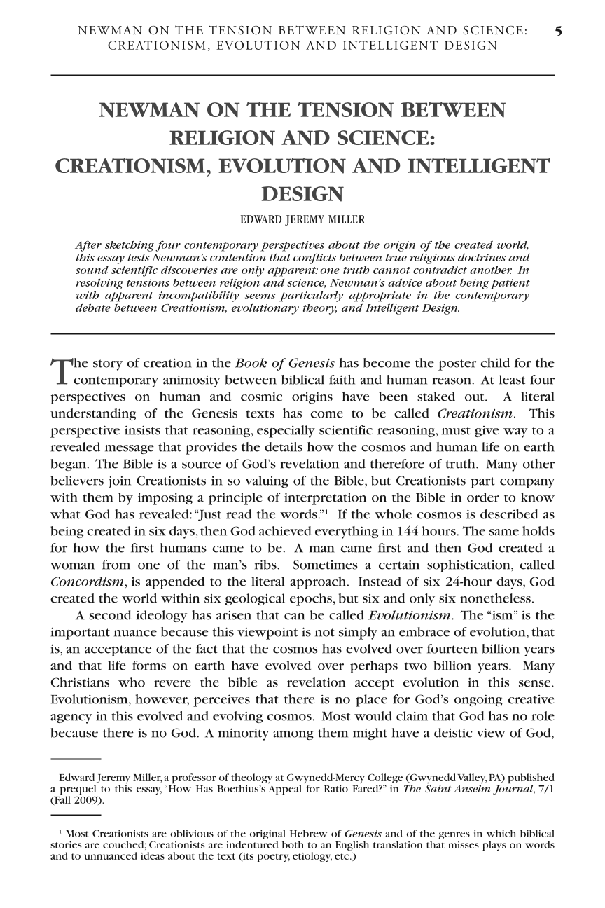 Newman On The Tension Between Religion And Science Creationism  Document Is Being Loaded