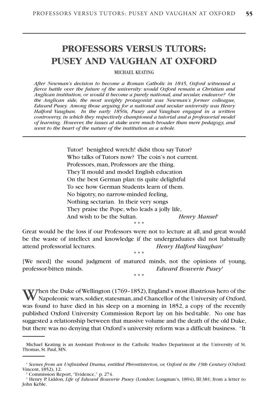 Professors versus Tutors: Pusey and Vaughan at Oxford