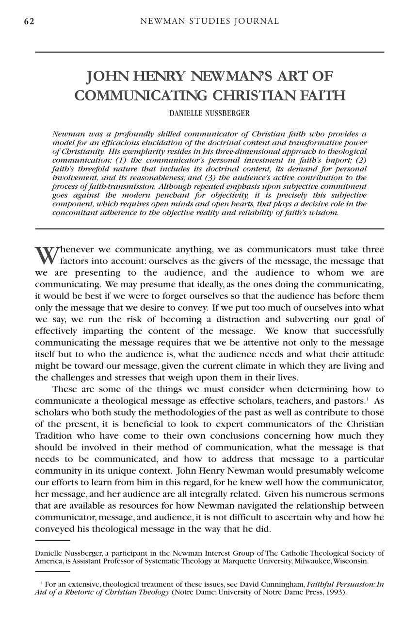 John Henry Newman's Art of Communicating Christian Faith