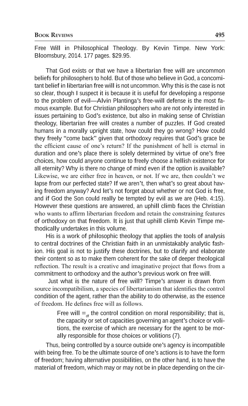Free Will in Philosophical Theology - Adam Omelianchuk
