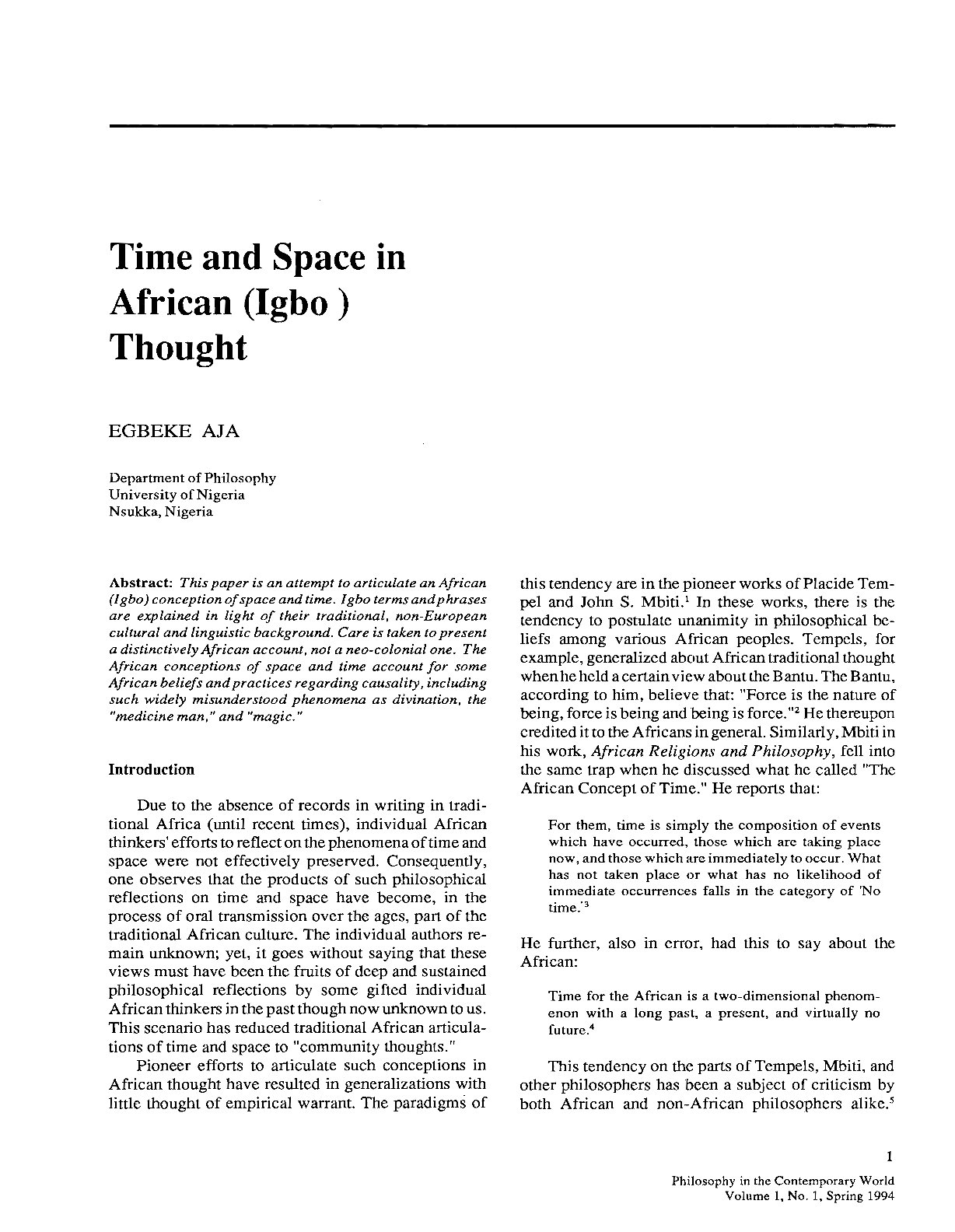 Time and Space in African (Igbo) Thought - Egbeke Aja