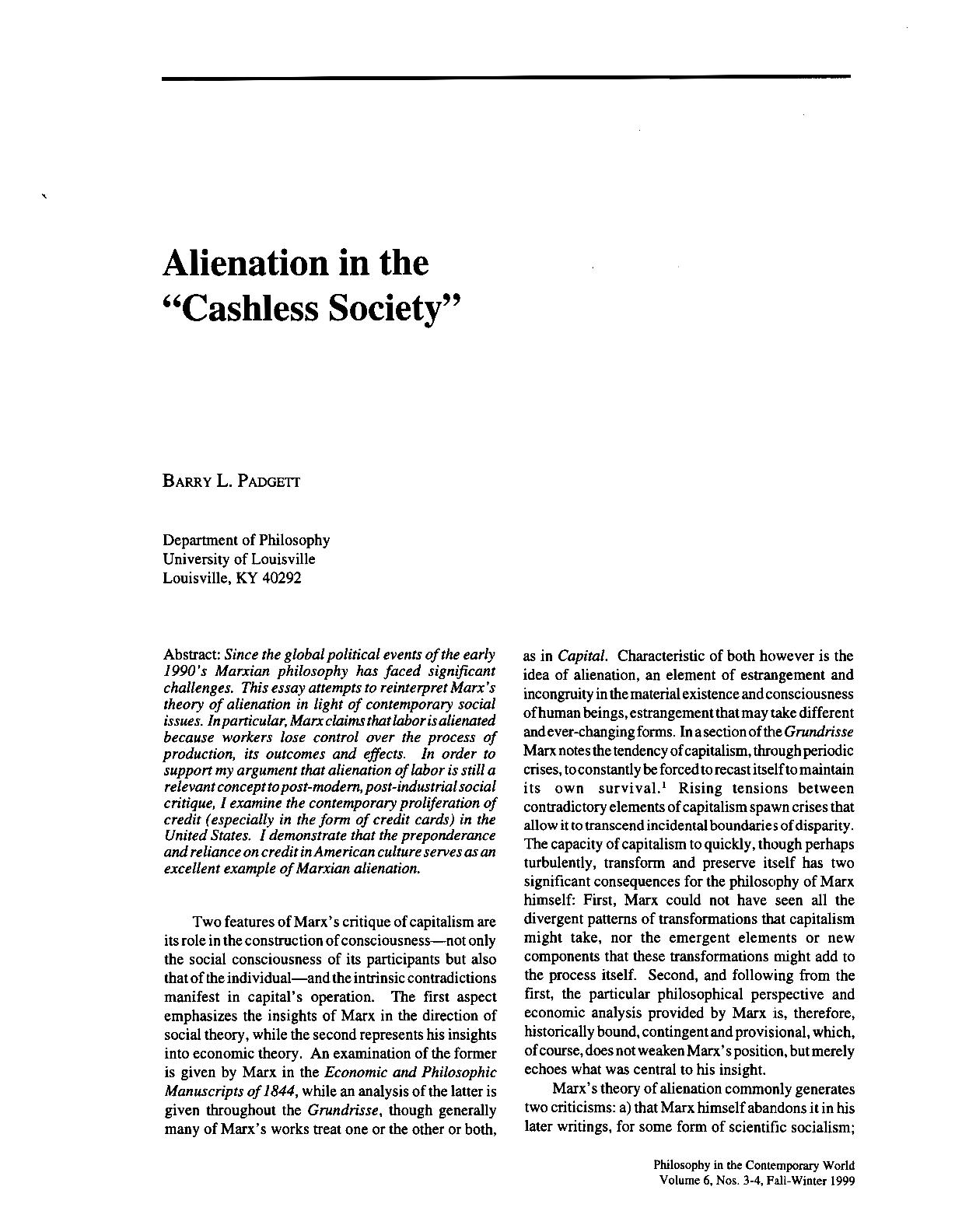 Cashless society essay