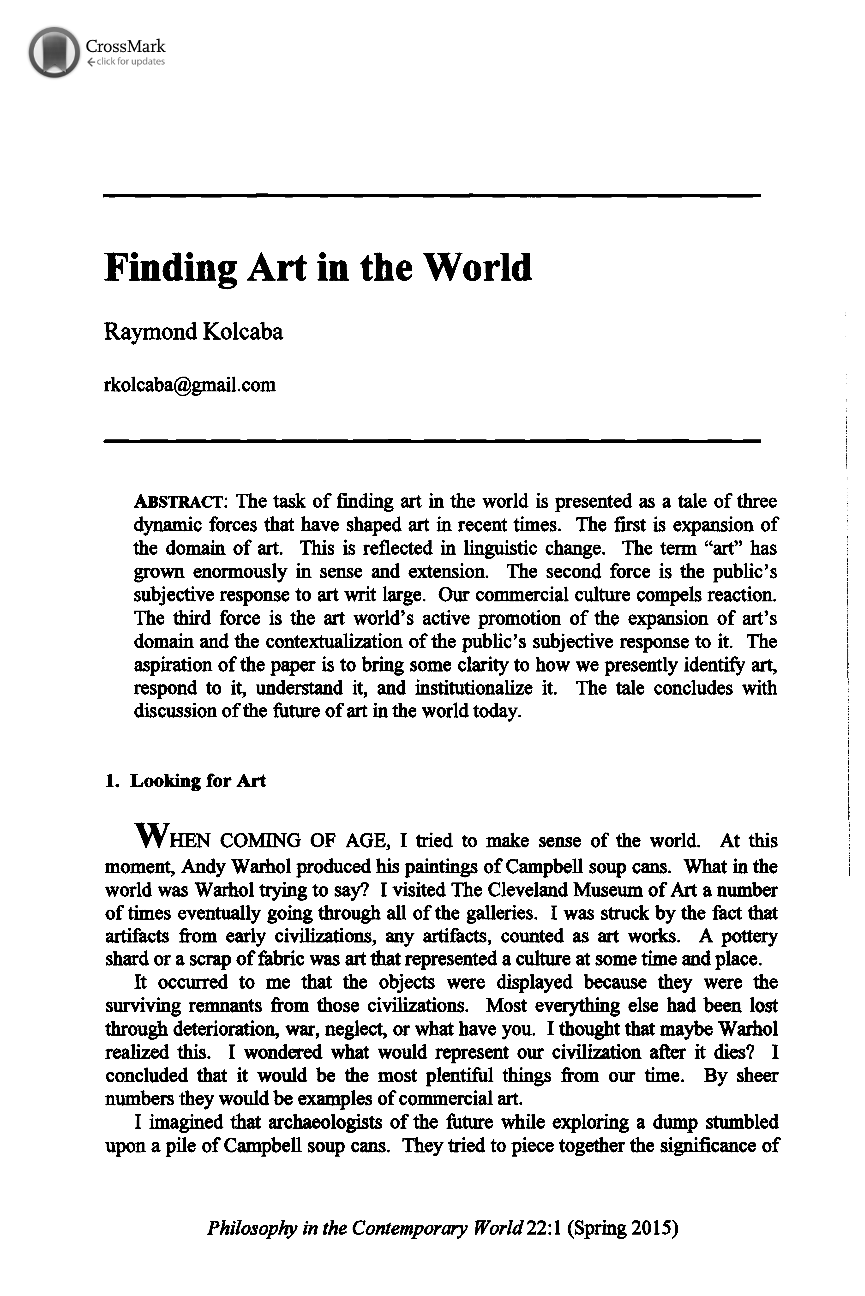 Finding art in the world raymond kolcaba philosophy in the document is being loaded spiritdancerdesigns Choice Image