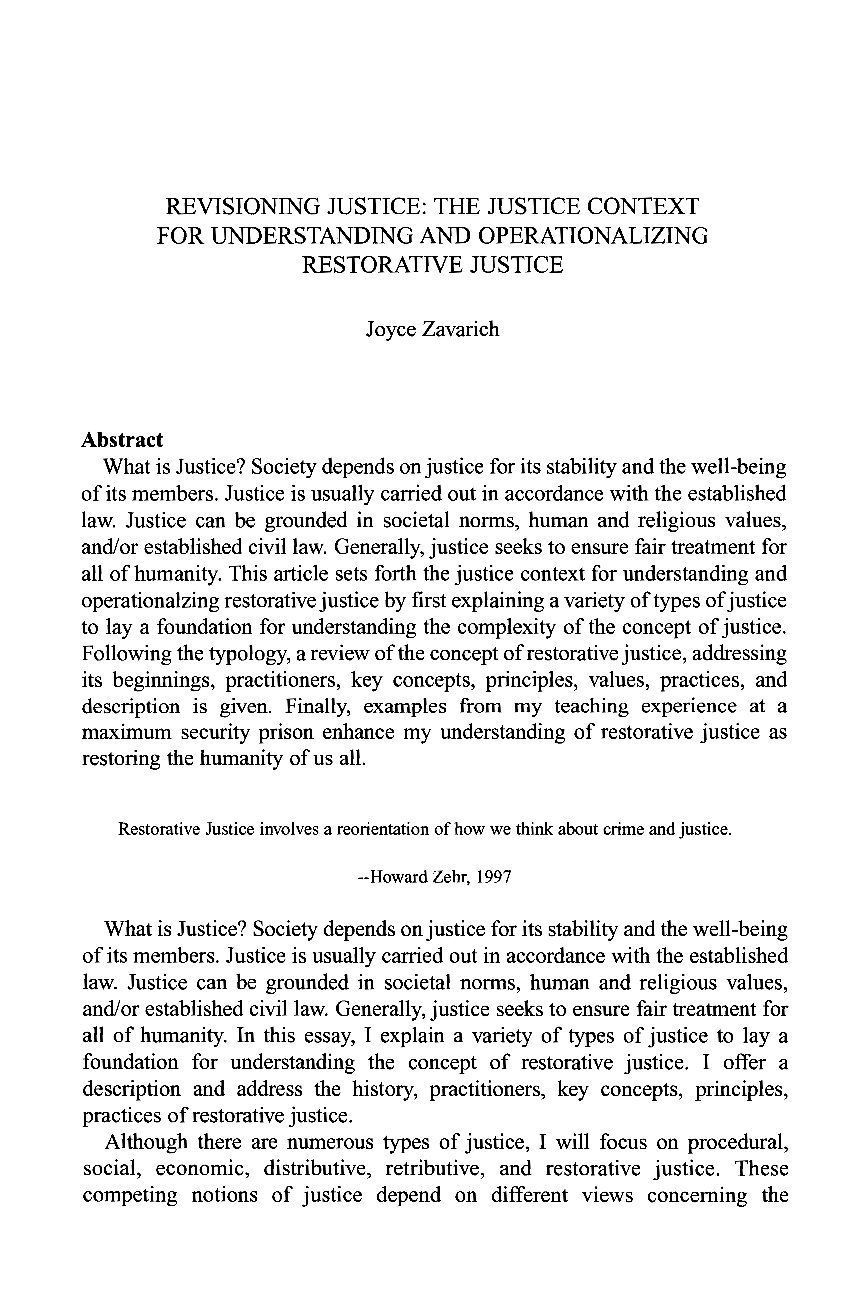 understanding restorative justice essay In this paper, i wish to raise some issues about the fit between restorative justice   who frequently had little understanding of the dynamics of family violence.