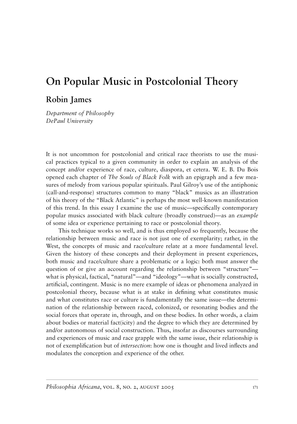 On Popular Music in Postcolonial Theory - Robin James