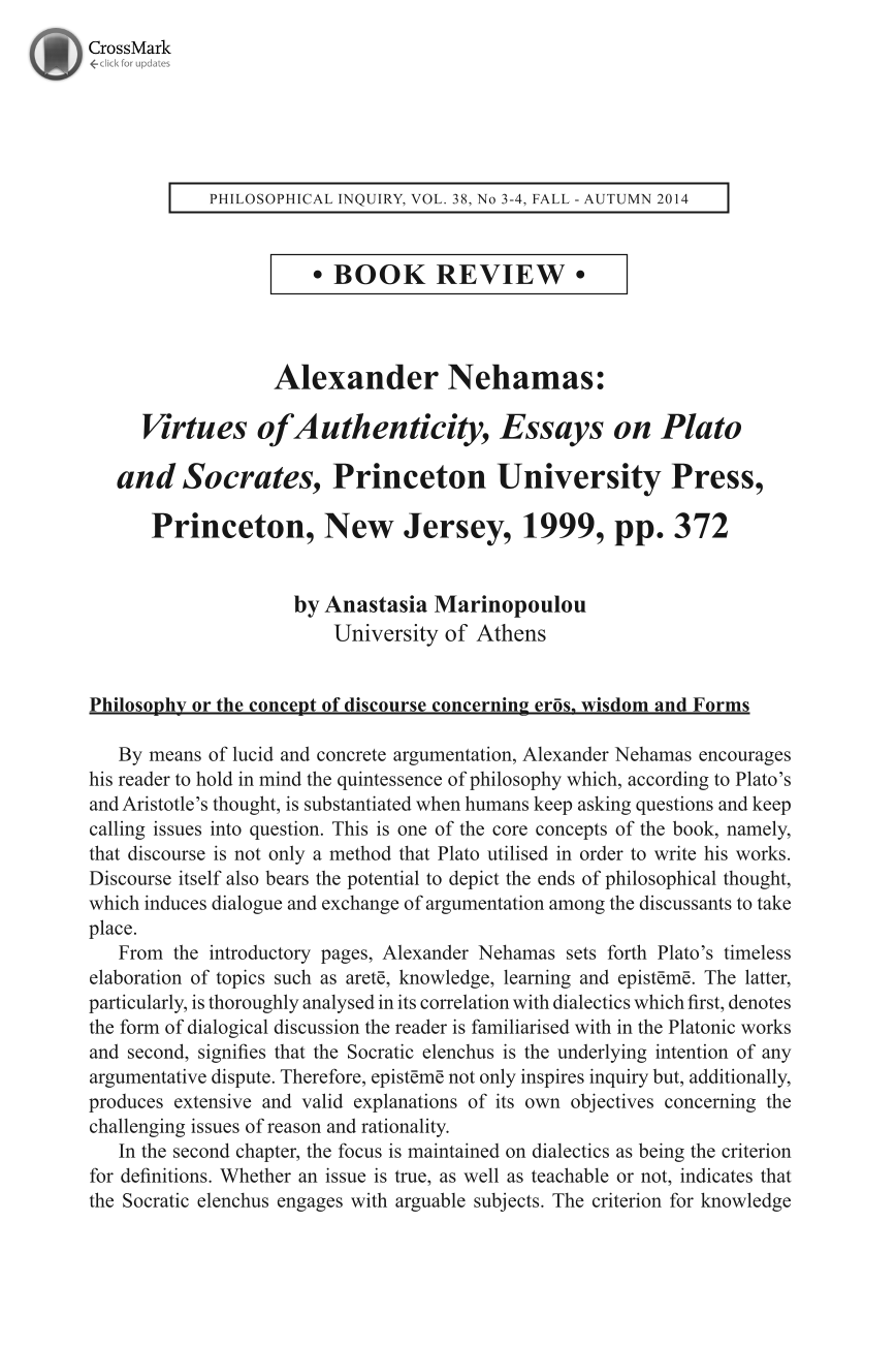 alexander nehamas virtues of authenticity essays on plato and document is being loaded