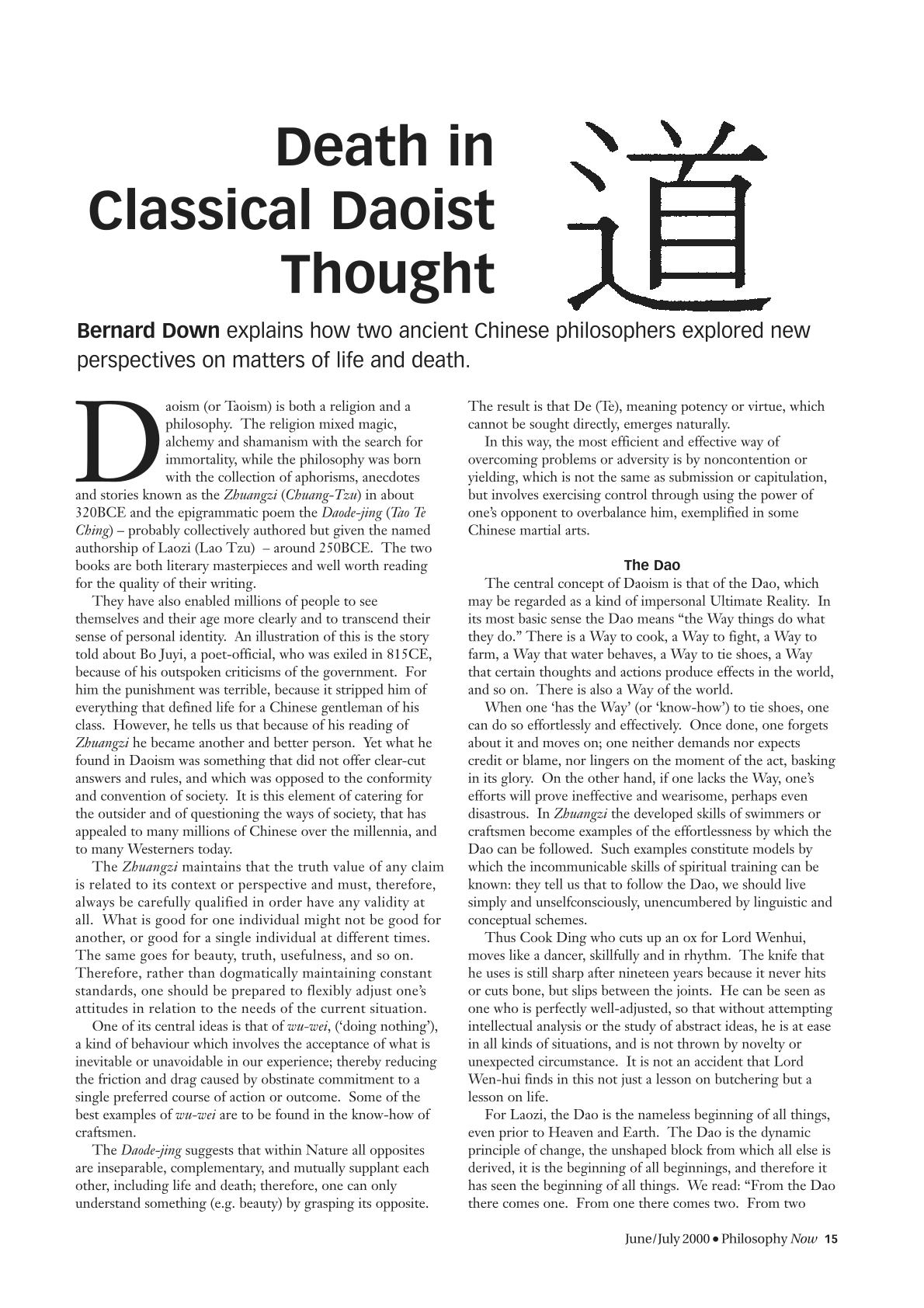 Death and Daoism - Bernard Down - Philosophy Now (Philosophy