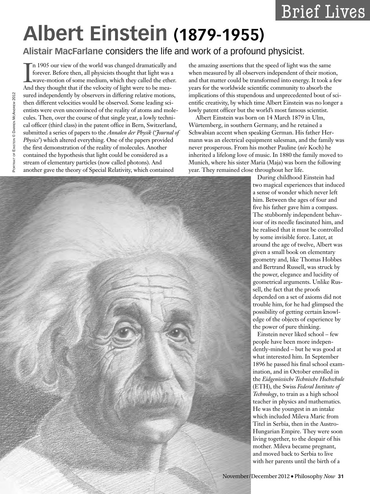 Albert Einstein 1879 1955 Alistair MacFarlane Philosophy Now Philosophy Documentation Center