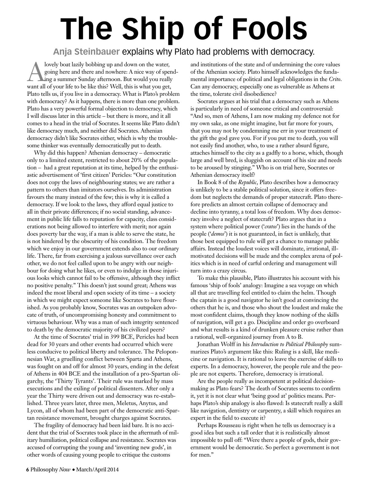 plato s arguments against democracy