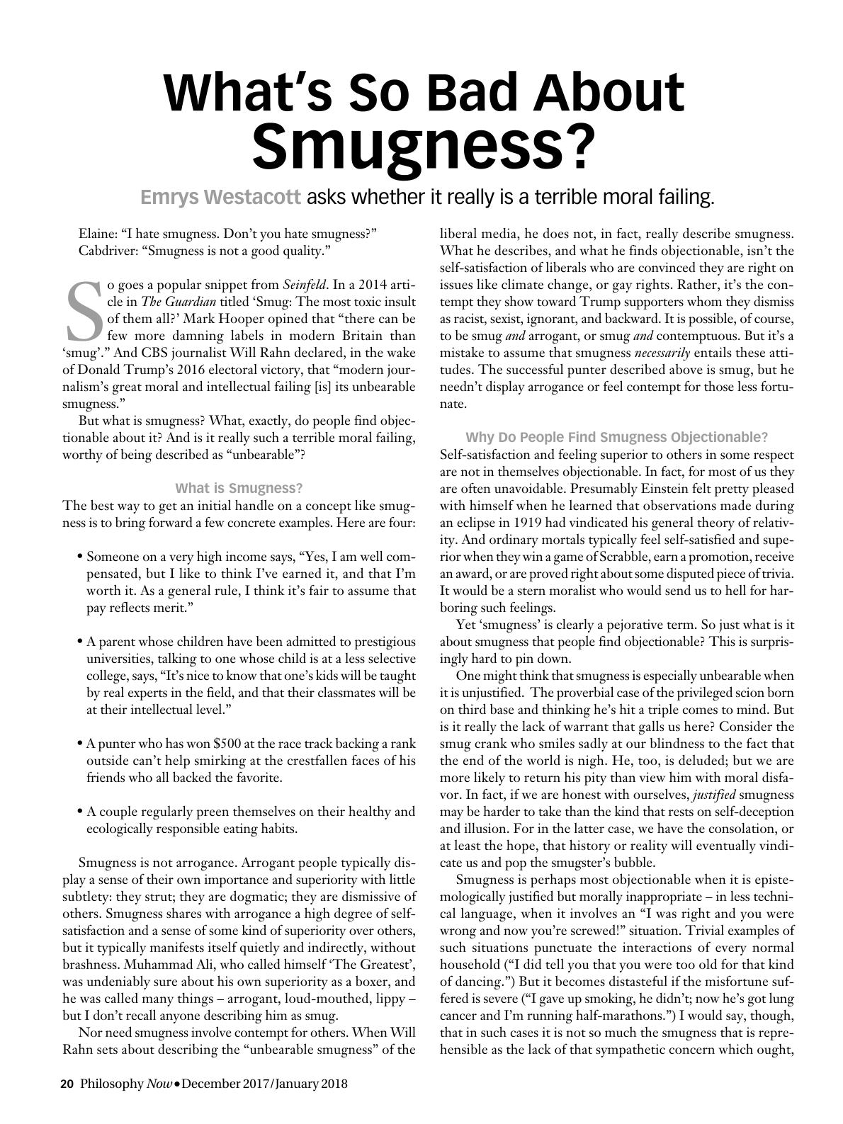 What's So Bad About Smugness? - Emrys Westacott - Philosophy