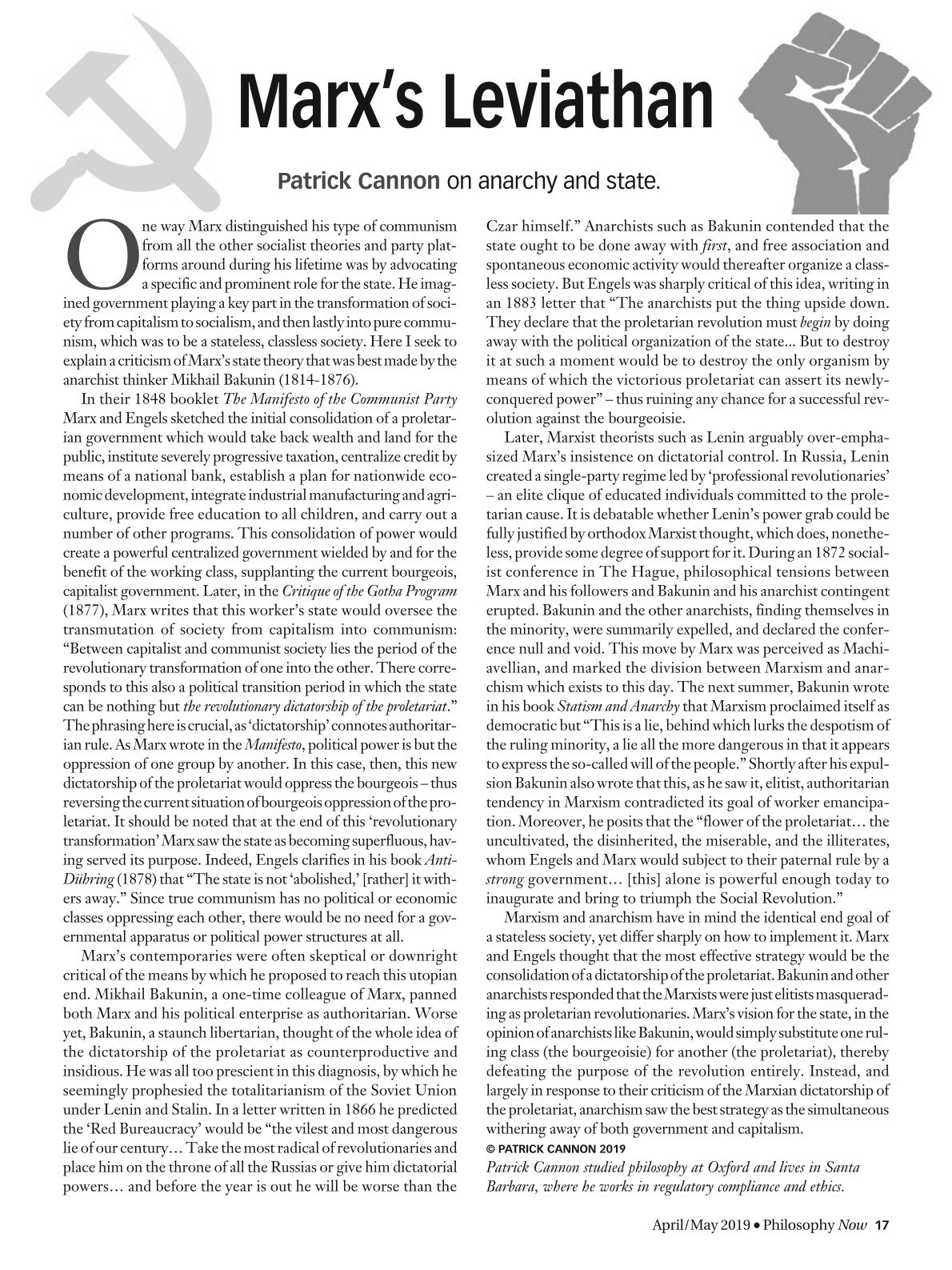Marx's Leviathan - Patrick Cannon - Philosophy Now