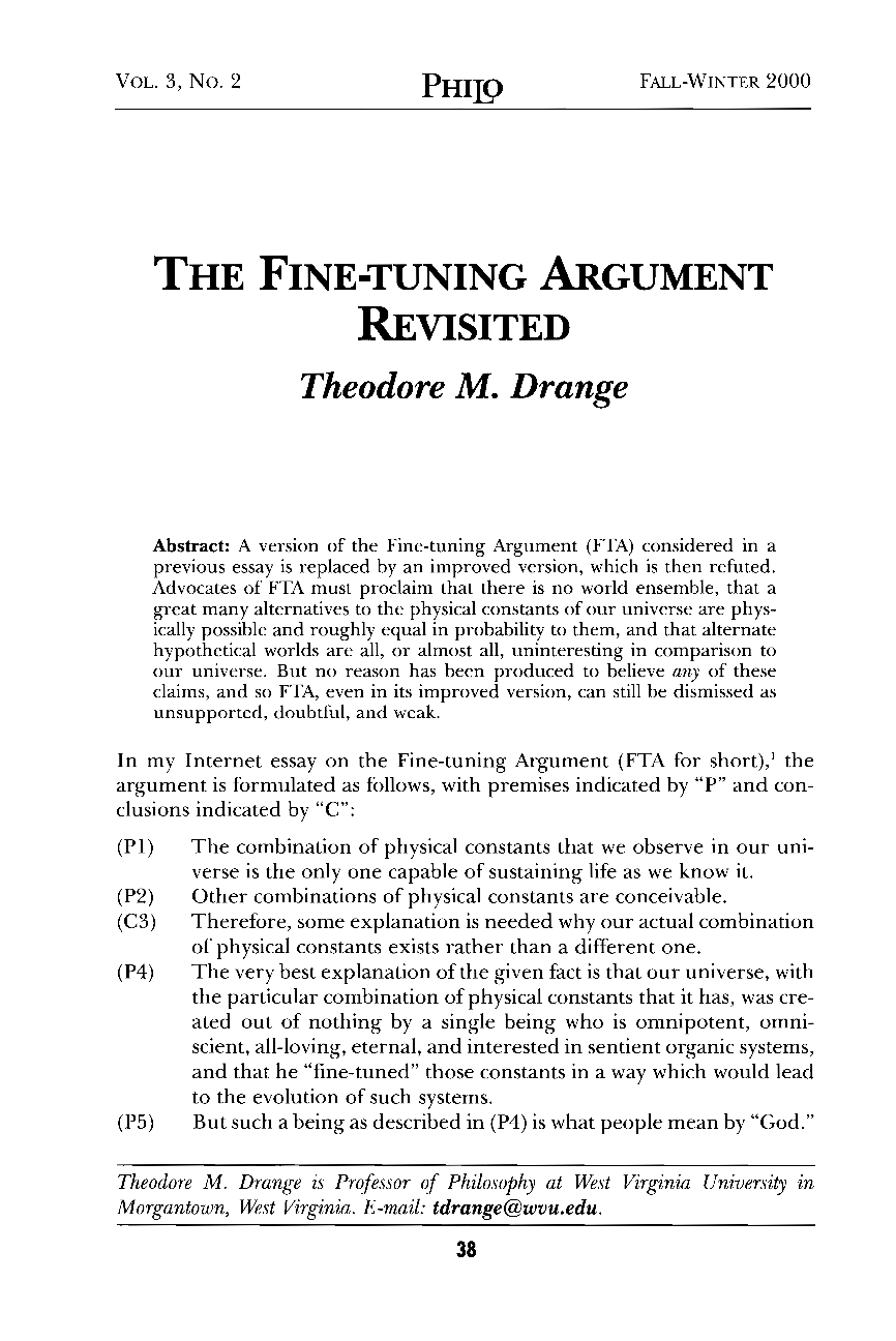 The Finetuning Argument Revisited  Theodore M Drange  Philo  Document Is Being Loaded