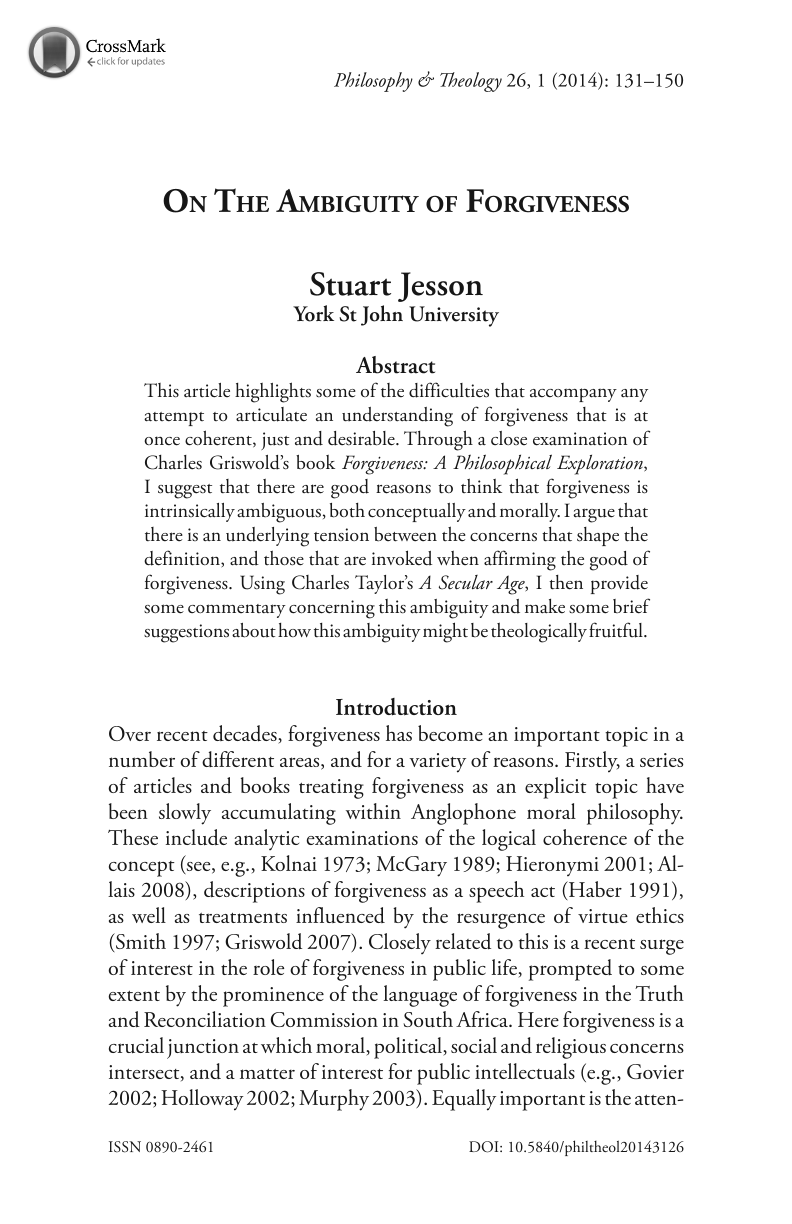 on the ambiguity of forgiveness stuart jesson philosophy and  document is being loaded